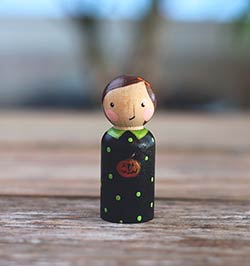Halloween Girl with Pumpkin Peg Doll