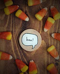 Our Backyard Studio Boo Speech Bubble Magnet or Pin