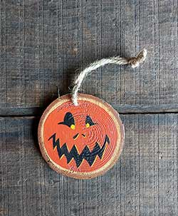 Jack O'Lantern Wood Slice Ornament (Personalized)
