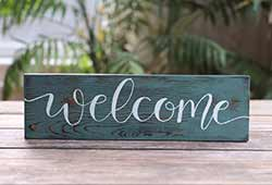 Welcome Hand Lettered Wood Sign (Color Options Available)