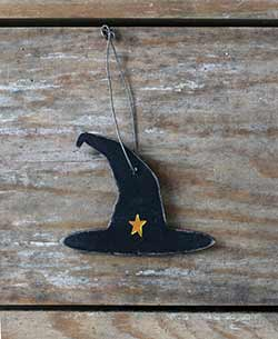 Black Witch Hat Ornament with Star