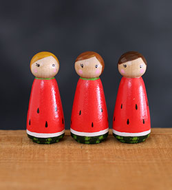 Watermelon Girl Peg Doll (or Ornament)