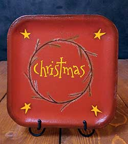 Christmas Hand-Painted Plate with Stars and Vine