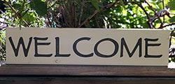 Welcome Hand-Painted Sign - Ivory