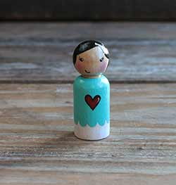 Red Heart Girl Peg Doll (or Ornament)