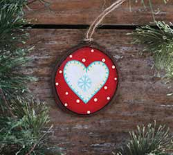 Nordic Heart Wood Slice Ornament - White (Personalized)