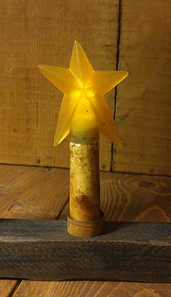 Burnt Ivory / Cinnamon Battery Taper Candle with Star - 5.5 inch