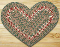 Green/Burgundy HEART Jute Rug
