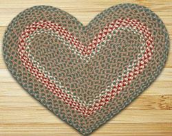 Green/Burgundy HEART Jute Rug