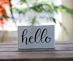 Hello Small Wood Sign (Color Options Available)