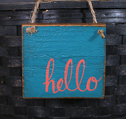 Teal Hello Wood Sign Ornament
