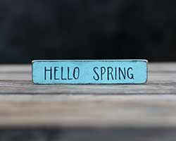 Hello Spring Shelf Sitter Sign