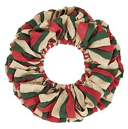 Red, Natural and Green Burlap Wreath (20 inch)