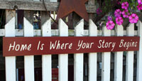 Home Is Where Your Story Begins Handmade Sign - Red