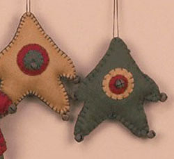 Green Wool Felt Star Ornament with Rusty Bell