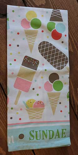 Ice Cream Party Printed Dishtowel