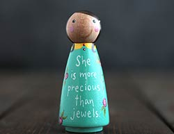 More Precious Than Jewels Scripture Doll - Teal (or Ornament)