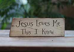Jesus Loves Me Hand Lettered Sign