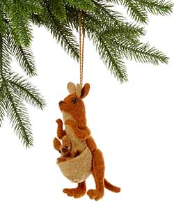 Kangaroo with Kid Wool Ornament