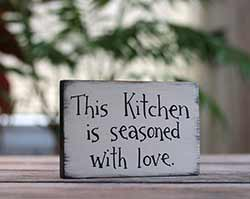 This Kitchen is Seasoned With Love Wood Sign - Beige