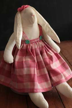 Large Bunny Girl - Pink Plaid