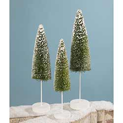 Snow Covered Green Bottle Brush Trees (Set of 3)