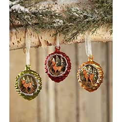 Fawn in Pinecone Indented Ornaments (Set of 3)