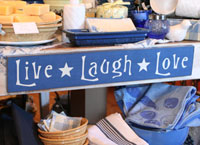 Live Laugh Love Handmade Sign - Soldier Blue