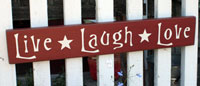 Live Laugh Love Handmade Sign - Burgundy