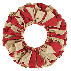Red and Natural Burlap Wreath (20 inch)
