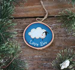 Blue Love Ewe Sheep Wood Slice Ornament (Personalized)