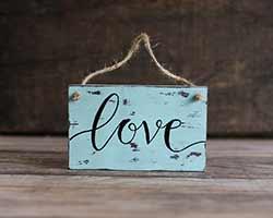 Love Custom Chippy Paint Wood Sign - Robin's Egg Blue