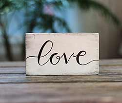 Love Distressed Wood Sign