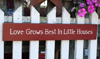 Love Grows Best Handmade Sign - Red
