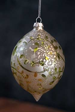 White/Green Antiqued Ornament - Drop