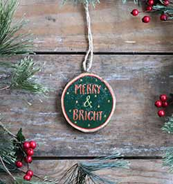 Merry & Bright Wood Slice Ornament (Personalized)