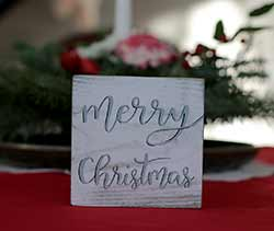 Merry Christmas Shelf Sitter Sign - White