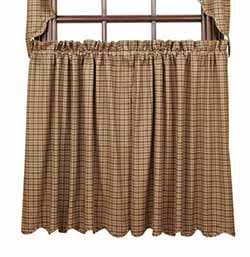 VHC Brands Millsboro Cafe Curtains - 36 inch (Burgundy and Navy Plaid)