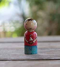 Boy with Sailboat Peg Doll
