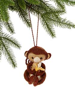 Monkey with Banana Wool Ornament