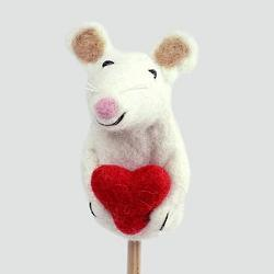 Mouse with Heart Finger Puppet