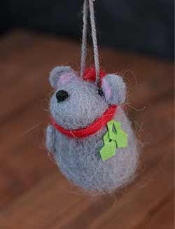 Whimsy Grey Mouse Woolen Ornament