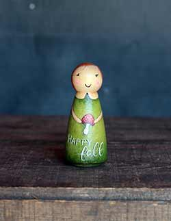 Happy Fall Art Doll with Mushroom