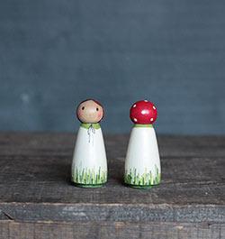 Mushroom Girl Peg Doll