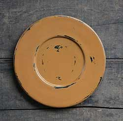 Distressed Wood Candle Plate - Deep Mustard