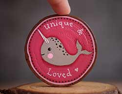 Unique Narwhal Wood Slice Ornament (Personalized)