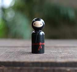 Black Ninja Peg Doll (or Ornament)