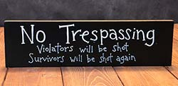 No Trespassing Wooden Sign