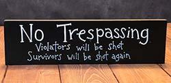 No Trespassing Wooden Sign
