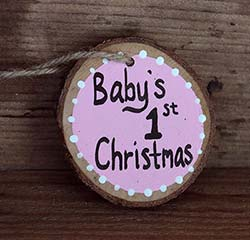 Baby's First Christmas Wood Slice Ornament - Pink (Personalized)